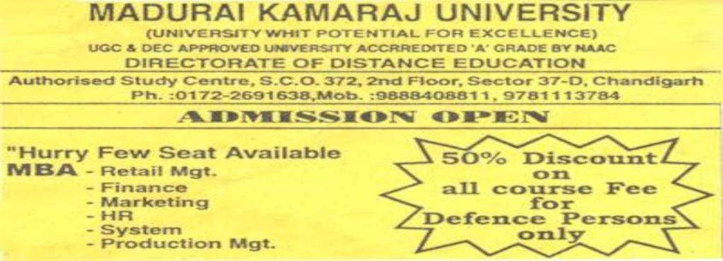 madurai kamraj university study centre